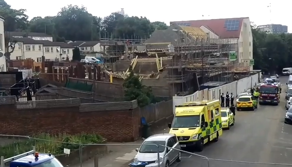Building site collapse in Woolwich