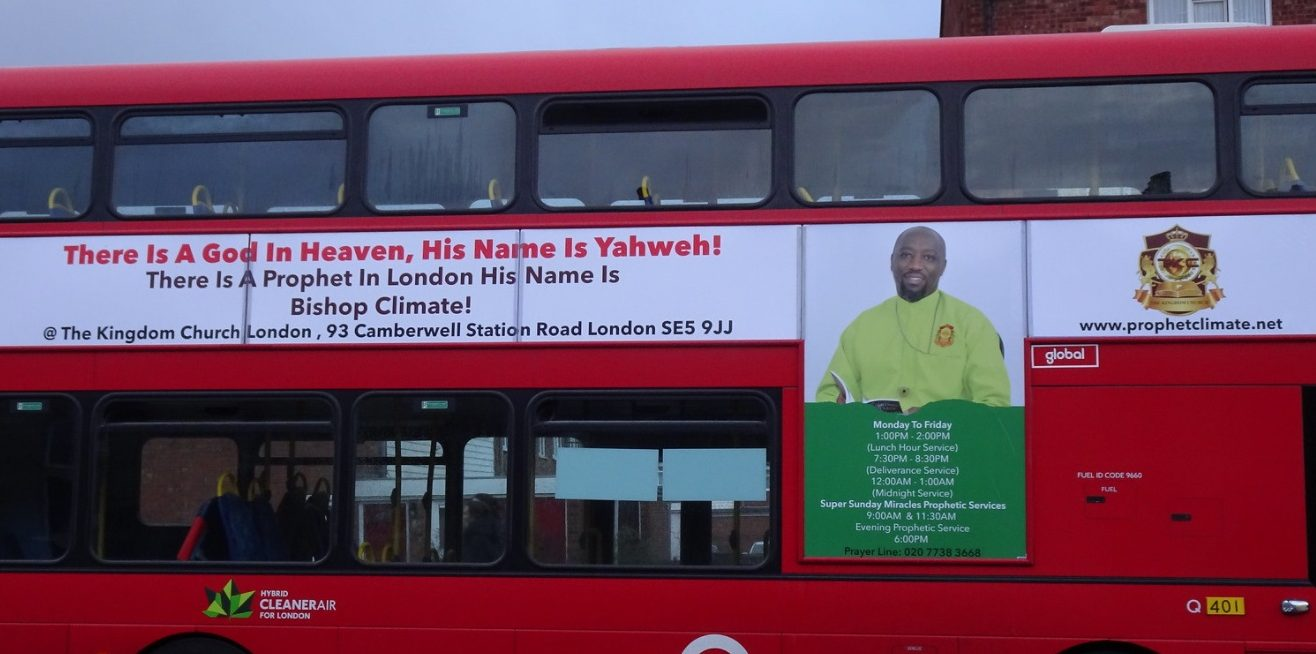 London Bus with church advert