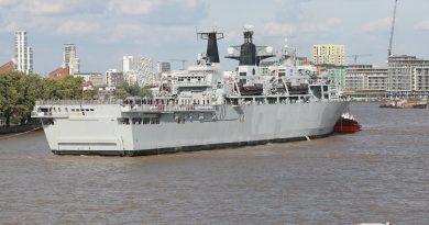 HMS Albion arrives in Greenwich for a week-long stay